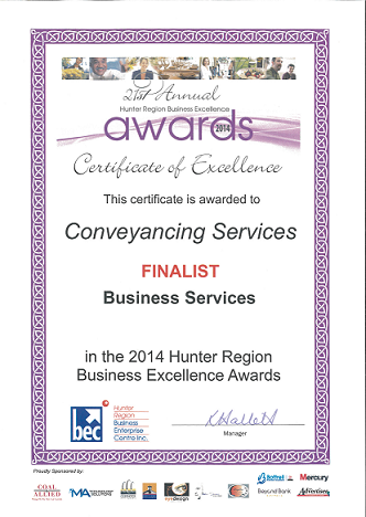Certificate of Excellence Finalist in Business Services
