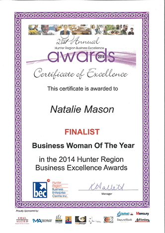 Certificate of Excellence to Natalie Mason
