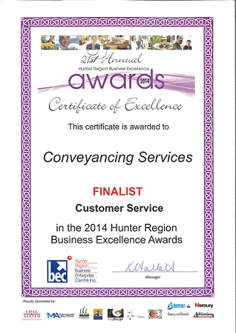 Certificate of Excellence for Customer Service