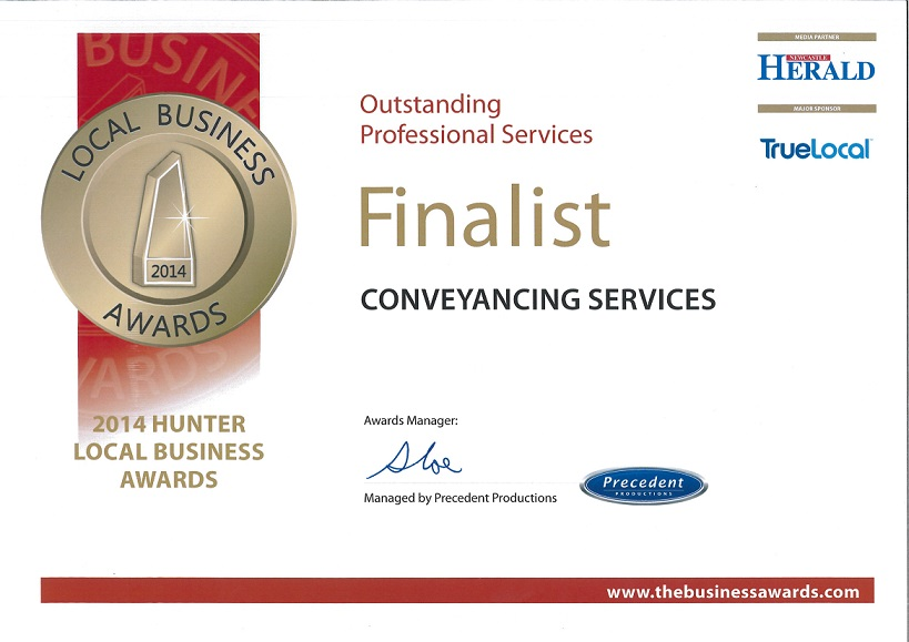 Winner Outstanding Professional Services 2014 Hunter Local Business Awards