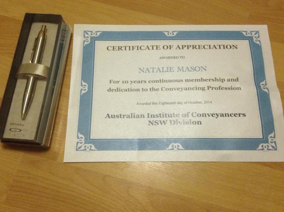 Natalie Mason's Certificate of Appreciation
