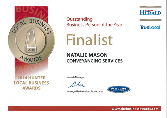 Outstanding Business Person of the Year Finalist Natalie Mason 2014 Hunter Local Business Awards