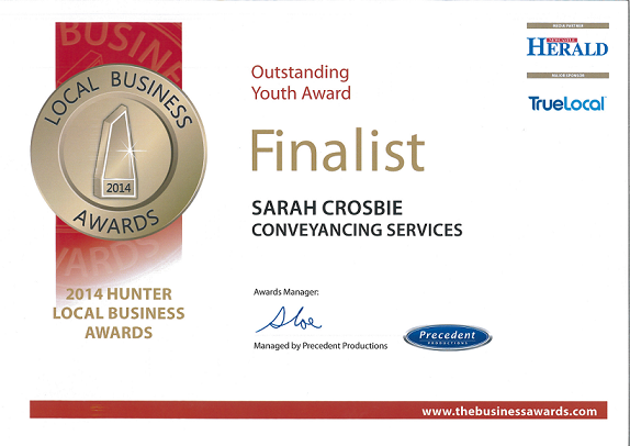 Outstanding Youth Award Finalist Sarah Crosbie 2014 Hunter Local Business Awards