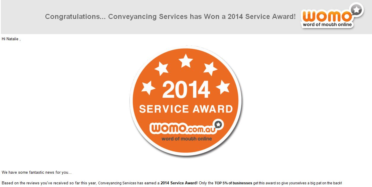 Word of Mouth Online (WOMO) 2014 Service Award